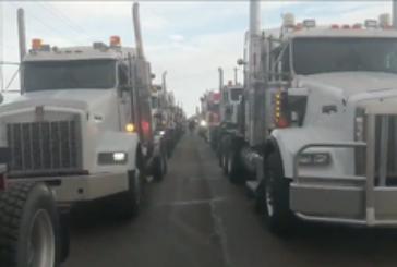 'Astounding' truck convoy in Nisku coincides with speech by Andrew Scheer