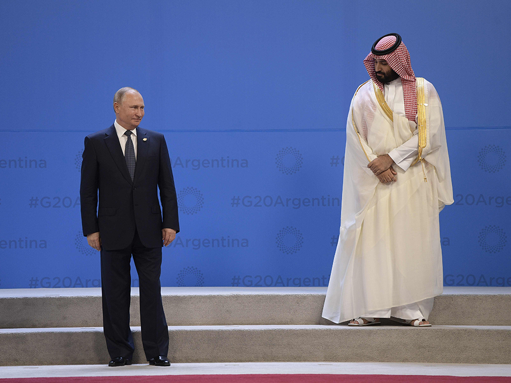 Russia President Vladimir Putin and Saudi Arabia's Crown Prince Mohammed bin Salman at the G20 Leaders' Summit in Buenos Aires in 2018. Russia and Saudi Arabia are engaged in a brutal price war.