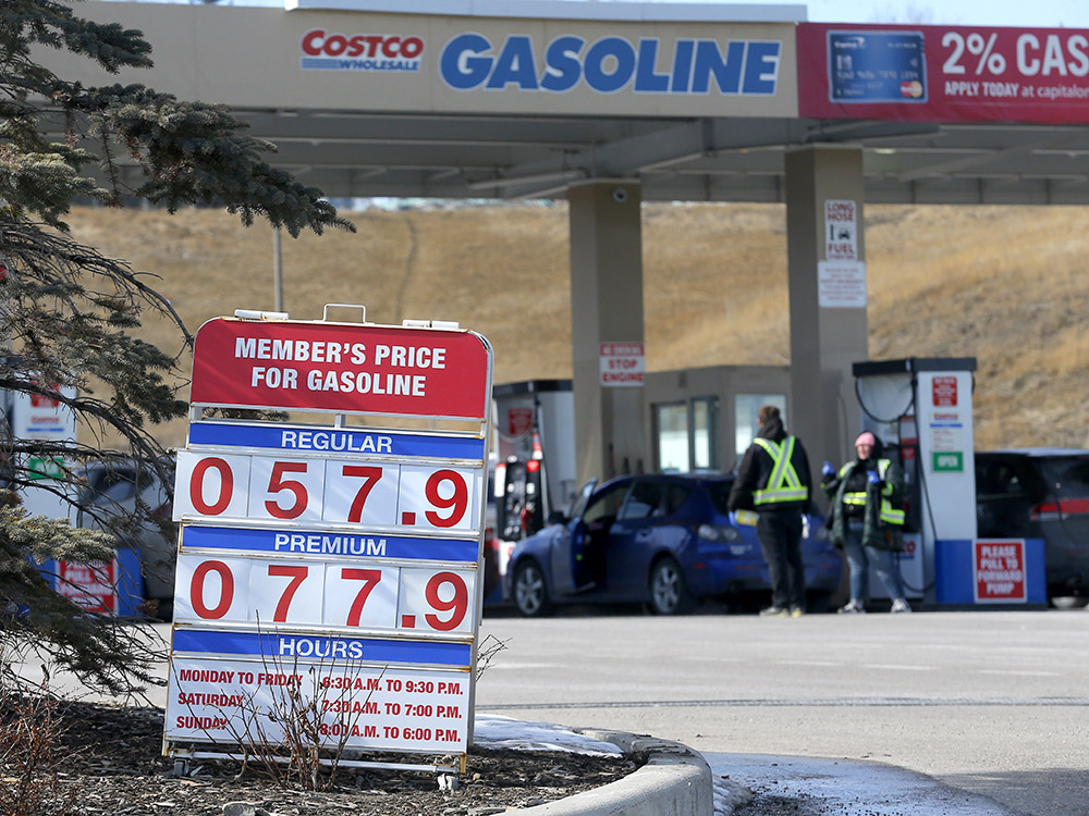 Gas prices are plunging, along with crude oil. This photo was taken on Thursday at a Calgary Costco.