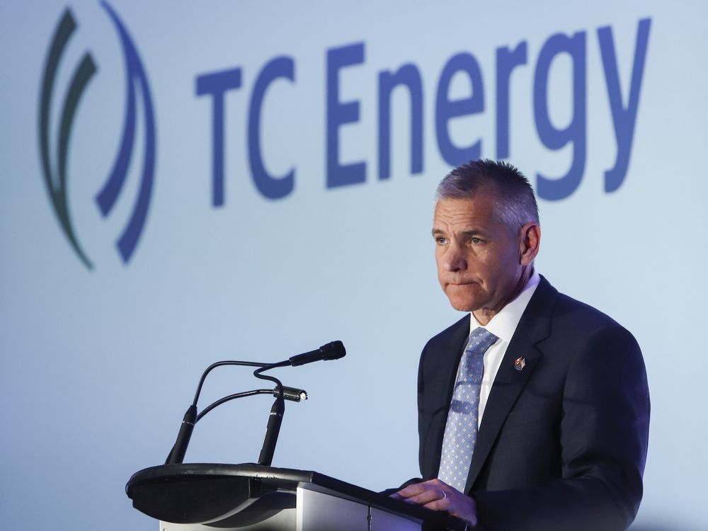 Russ Girling addresses TC Energy Corp.'s annual meeting in Calgary in May 2019.
