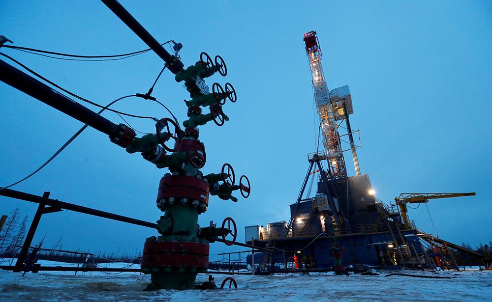 A drilling rig in the Yarakta oilfield in Russia.