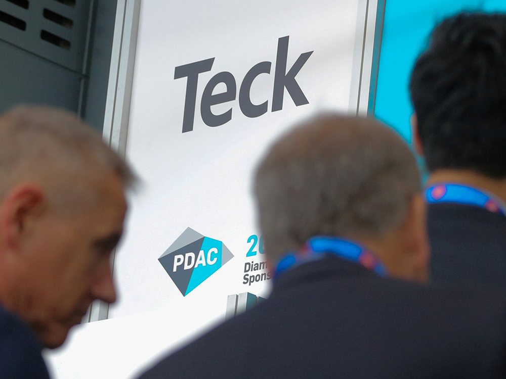 Visitors pass a logo of Teck Resources Ltd. during the Prospectors and Developers Association of Canada (PDAC) annual convention in Toronto on March 4, 2019.