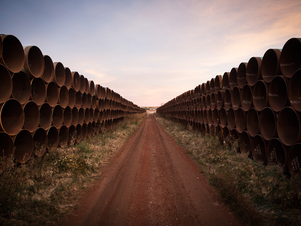 Pipe is stacked near Gascoyne, North Dakota, for construction of the proposed Keystone XL pipeline on Oct. 14, 2014.