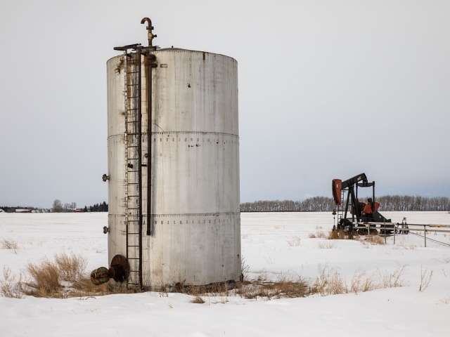 An abandoned oil well site in Alberta.