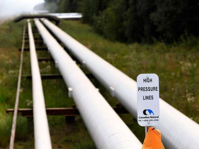 Pipelines at Canadian Natural Resources Ltd.'s Primrose Lake oilsands project.