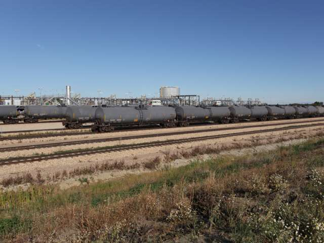 Crude oil rail tanker cars await loading this week at Cenovus's Bruderheim Energy Terminal northeast of Edmonton.