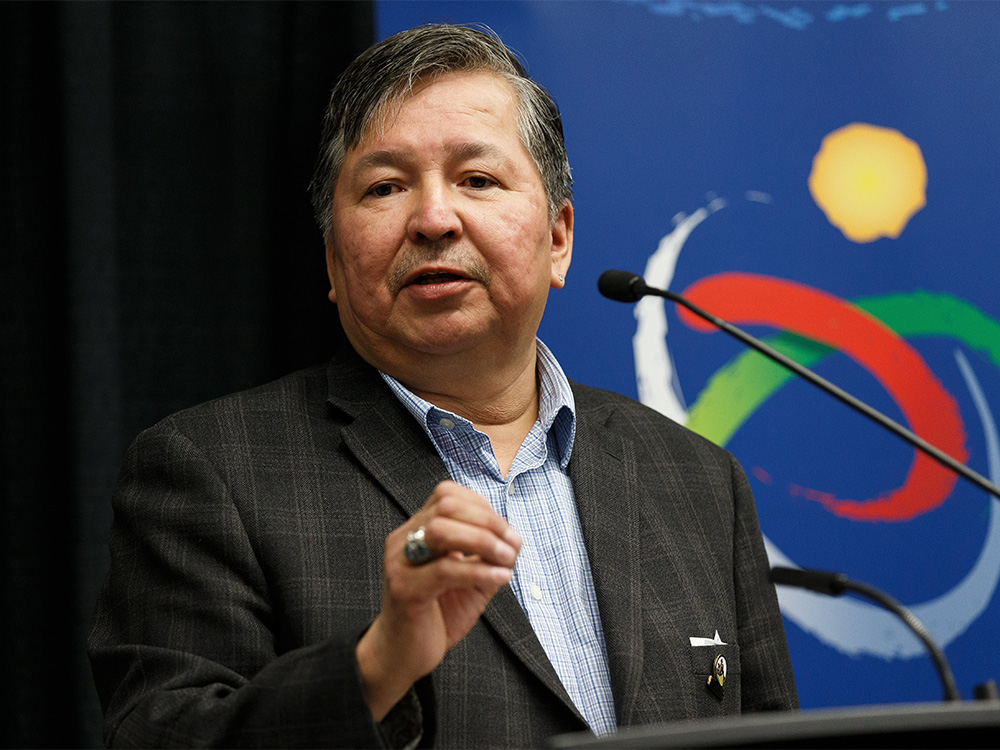 Fort McKay First Nation Chief Mel Grandjamb speaks during a press conference at the Moose Lake Together Summit in Edmonton, on Friday, Jan. 31, 2020.