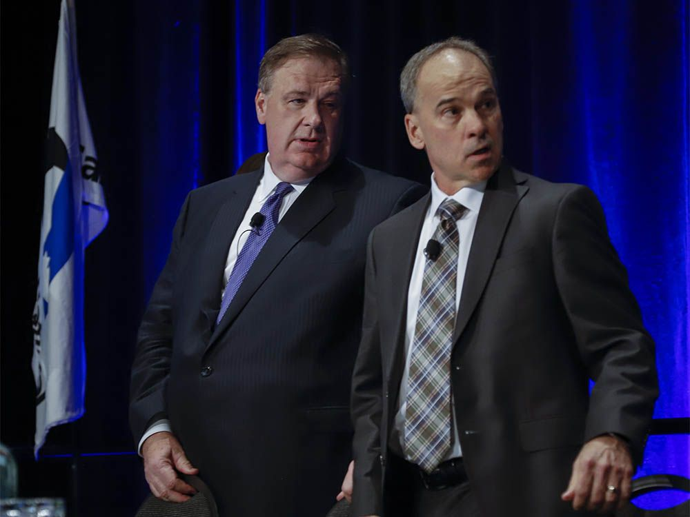 Canadian Natural Resources Ltd. chairman Murray Edwards, left, and president Tim McKay prepare to address the company's annual meeting in Calgary, Thursday, May 9, 2019.