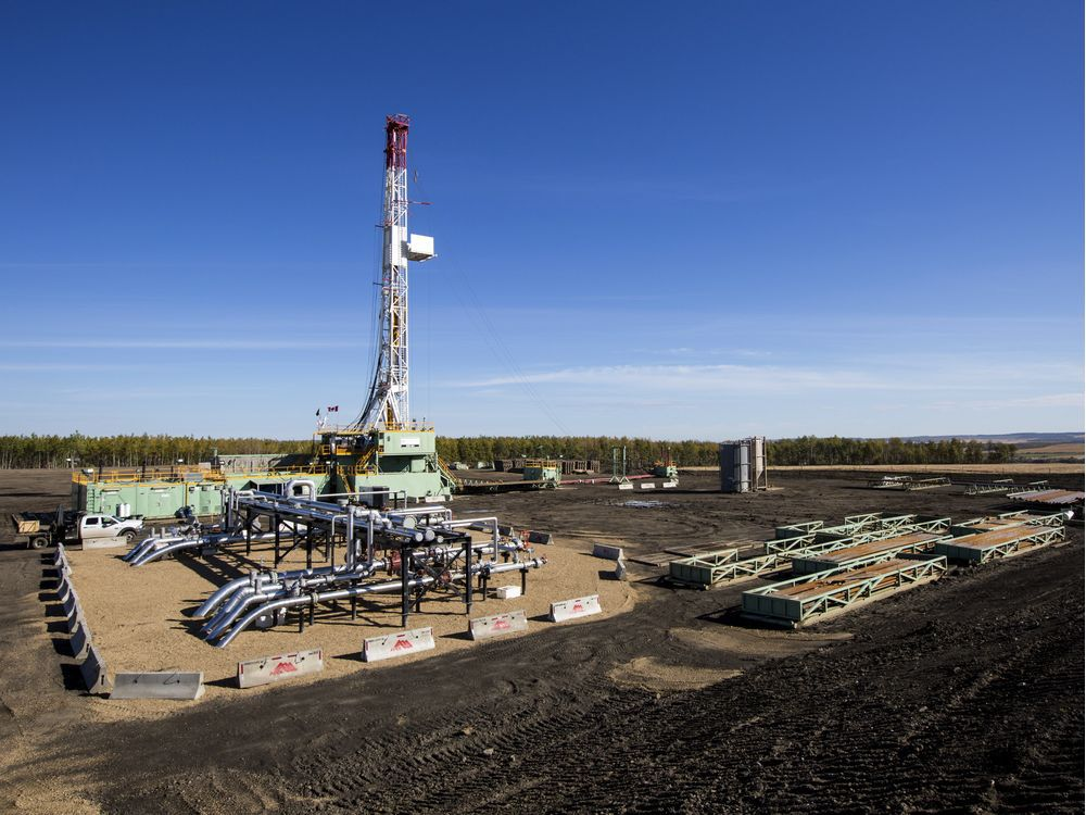 A September 2014 handout of an Encana natural gas drilling rig in the Montney called PD 521.