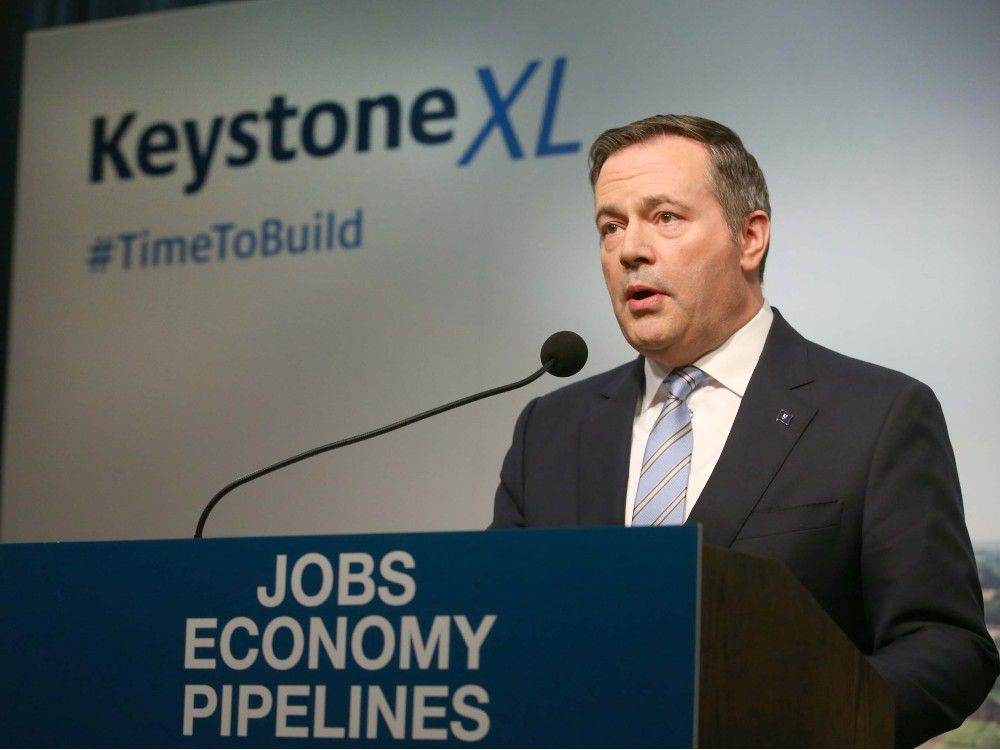 Alberta Premier Jason Kenney speaks in Calgary on Tuesday, March 31, 2020 about the the plan to kick-start construction on the Keystone XL pipeline.