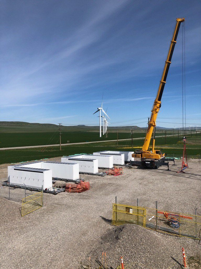 The new Windcharger battery storage project being development by TransAlta Corporation is seen near Pincher Creek. The project has been under development this year and will begin operating later this month.