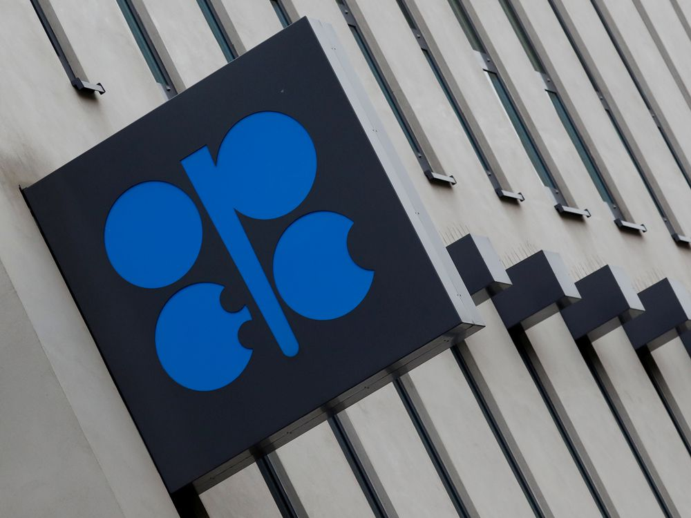 The logo of the Organisation of the Petroleum Exporting Countries (OPEC) sits outside its headquarters in Austria.