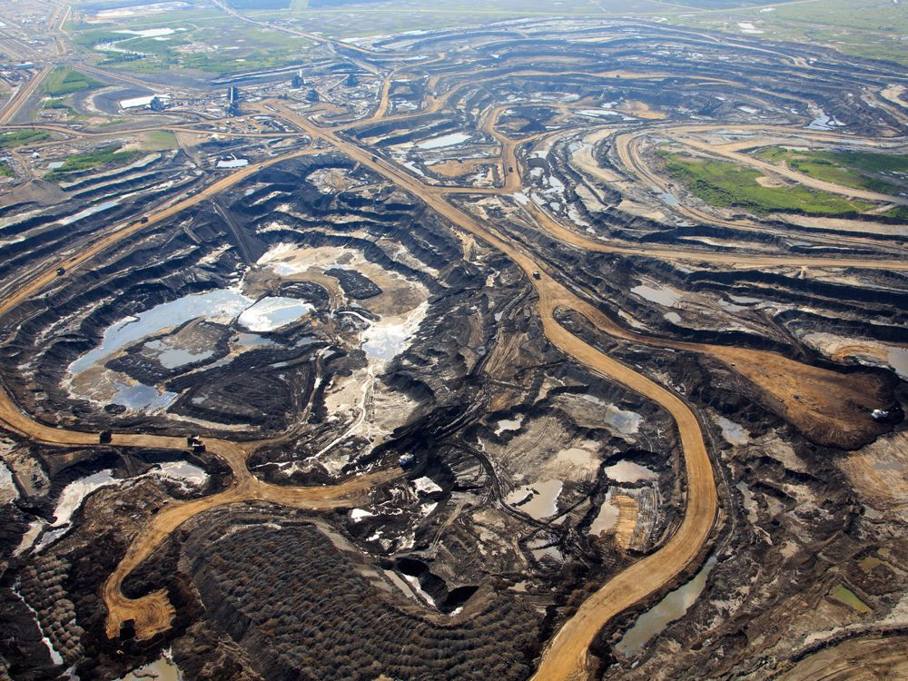 An aerial view of Canadian Natural Resources Ltd.'s oilsands mining operation near Fort McKay, Alta.