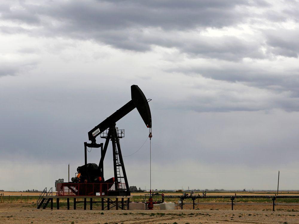 A TORC Oil Gas pump jack near Granum, Alberta on May 6, 2020.