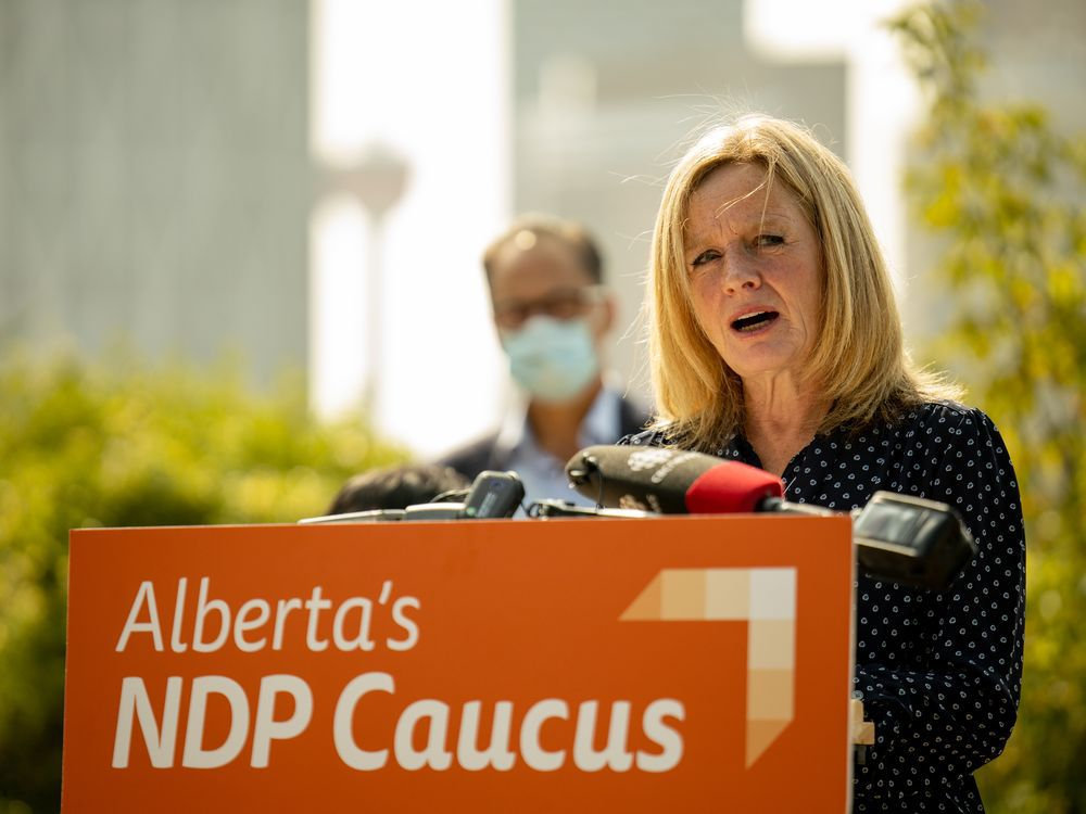 NDP Leader Rachel Notley speaks at a news conference in Calgary on Thursday Sept. 17, 2020.
