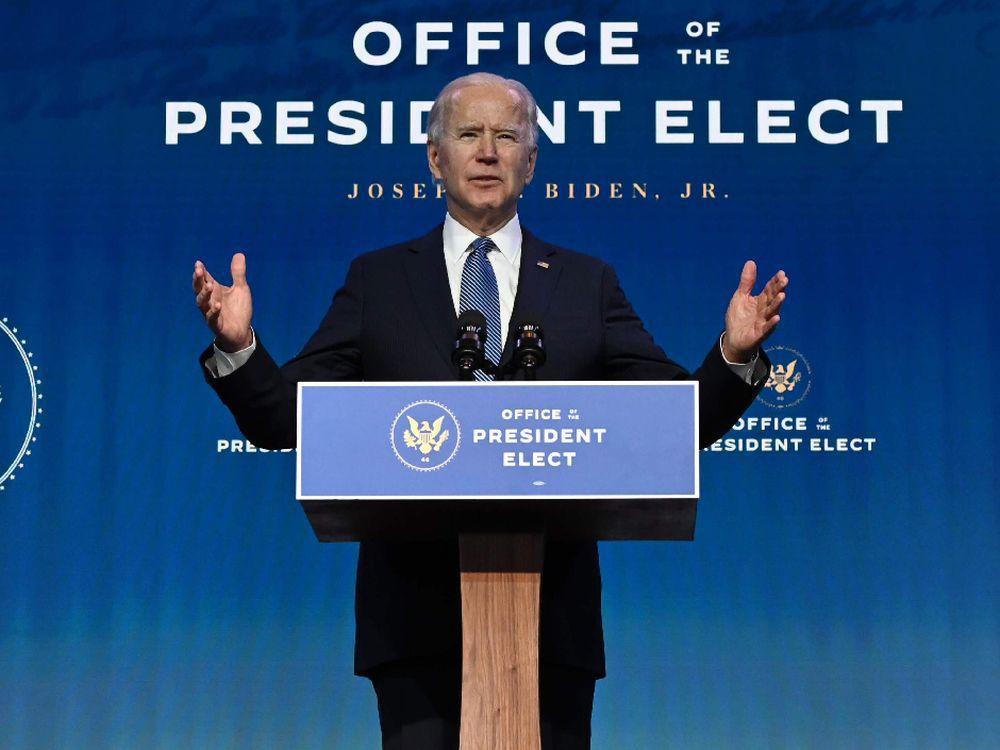 U.S. President-elect Joe Biden speaks at The Queen theatre in Wilmington, Delaware on Jan. 7, 2021.