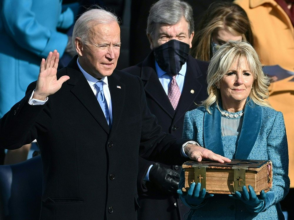Joe Biden takes the oath of office during the swearing-in ceremony of the 46th U.S. President on Wednesday.