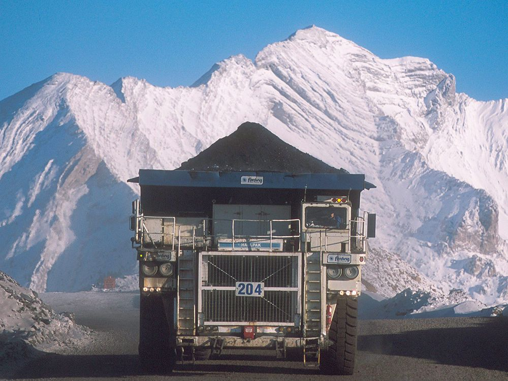 A truck hauls a load at Teck Resources Coal Mountain operation near Sparwood, B.C., west of the Alberta border.