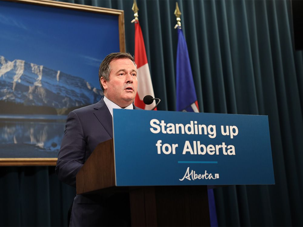 Premier Jason Kenney from Calgary on the recent developments related to the Keystone XL pipeline on Jan. 20, 2021.