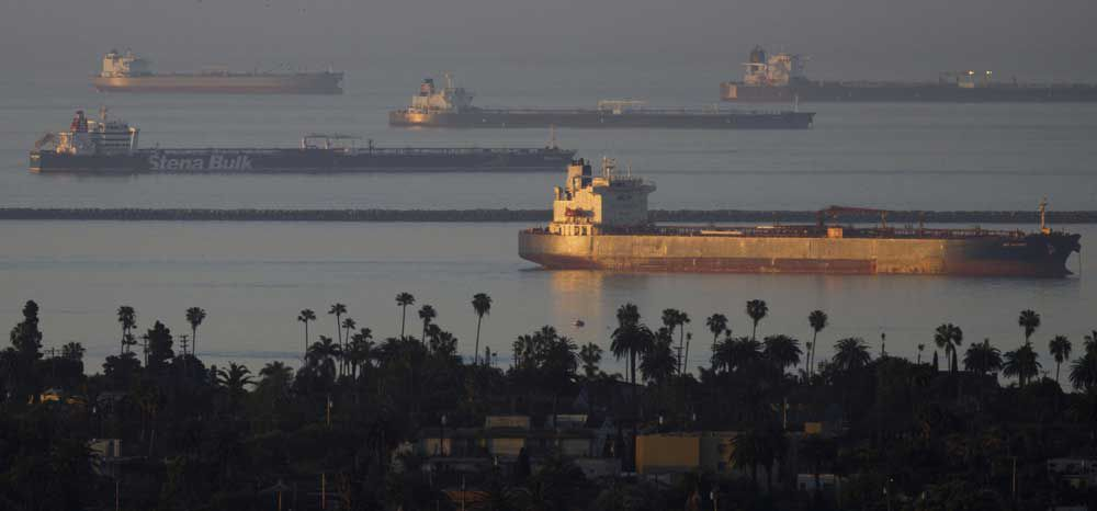 Oil tankers carrying enough crude to satisfy 20 per cent of the world's daily consumption gathered off California's coast in April, 2020 with nowhere to go as fuel demand collapsed.