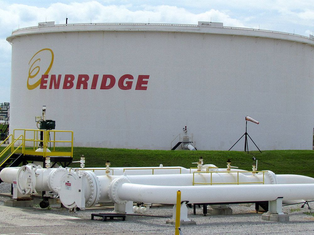 A tank farm at the Enbridge pipeline's terminal in Sarnia is shown here.