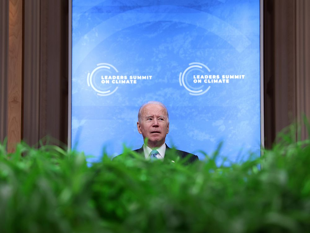 U.S. President Joe Biden looks on following his remarks in a virtual Climate Summit with world leaders in the East Room at the White House in Washington on April 23, 2021.