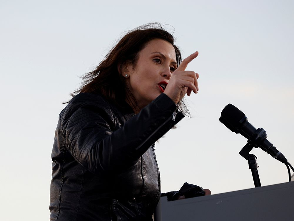 FILE PHOTO: Michigan Governor Gretchen Whitmer speaks ahead of Democratic U.S. presidential nominee and former Vice President Joe Biden, at a campaign drive-in, mobilization event in Detroit, Michigan, U.S., October 31, 2020.