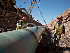 Oil pipeline construction workers in Oklahoma.