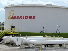 A tank farm at the Enbridge pipelines terminal in Sarnia.