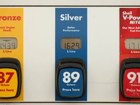 The price of the three levels of gas is shown at a Kensington area gas station in northwest Calgary on Tuesday, October 5, 2021.